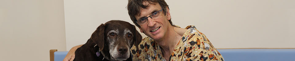 Ian Macqueen with dog, orthopaedic referrals